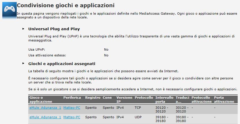 Stato porte TCP e UDP